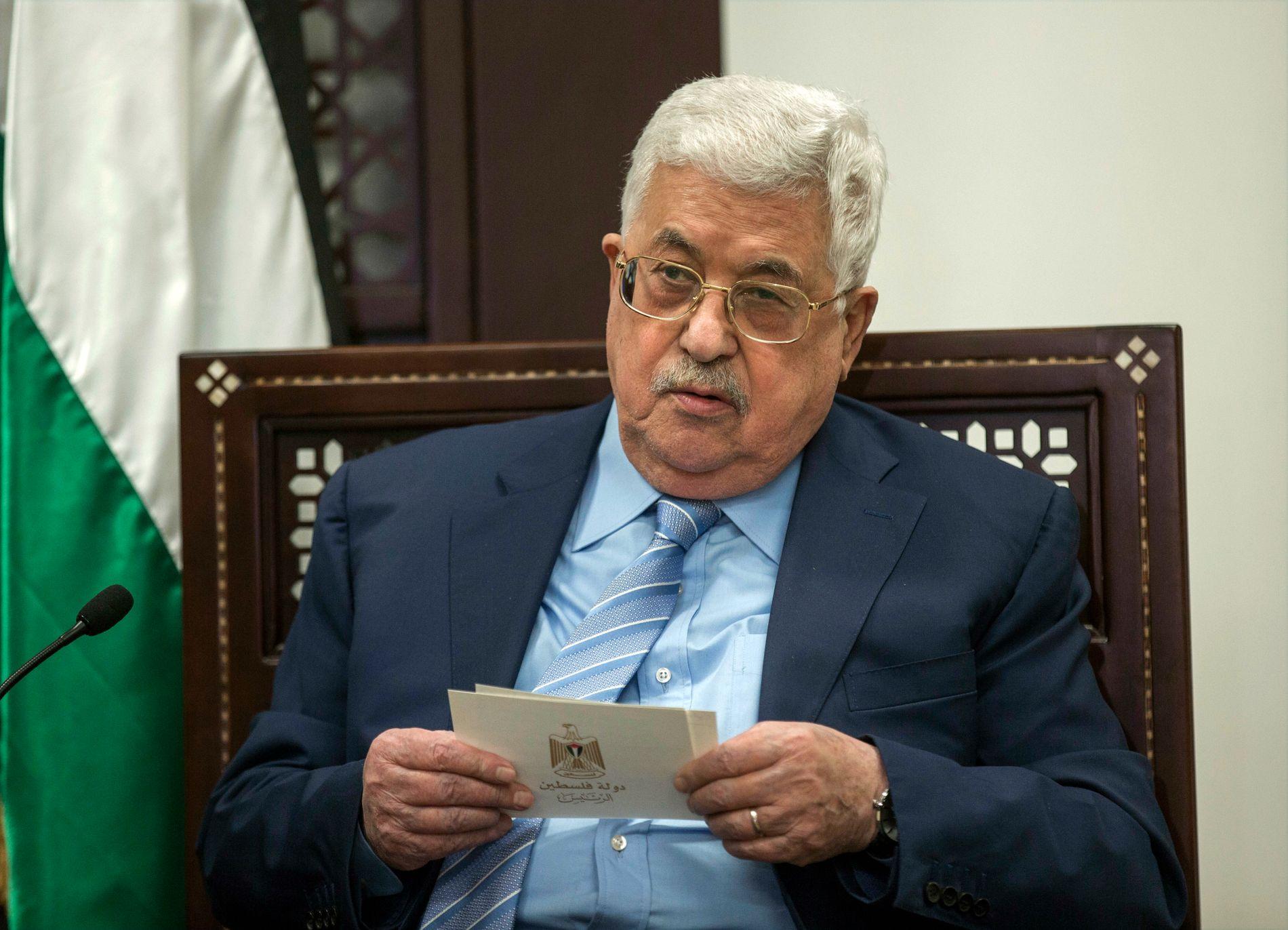 PRESIDENT: Mahmoud Abbas i januar, under et møte med det tyske utenriksdepartementet i Ramallah.