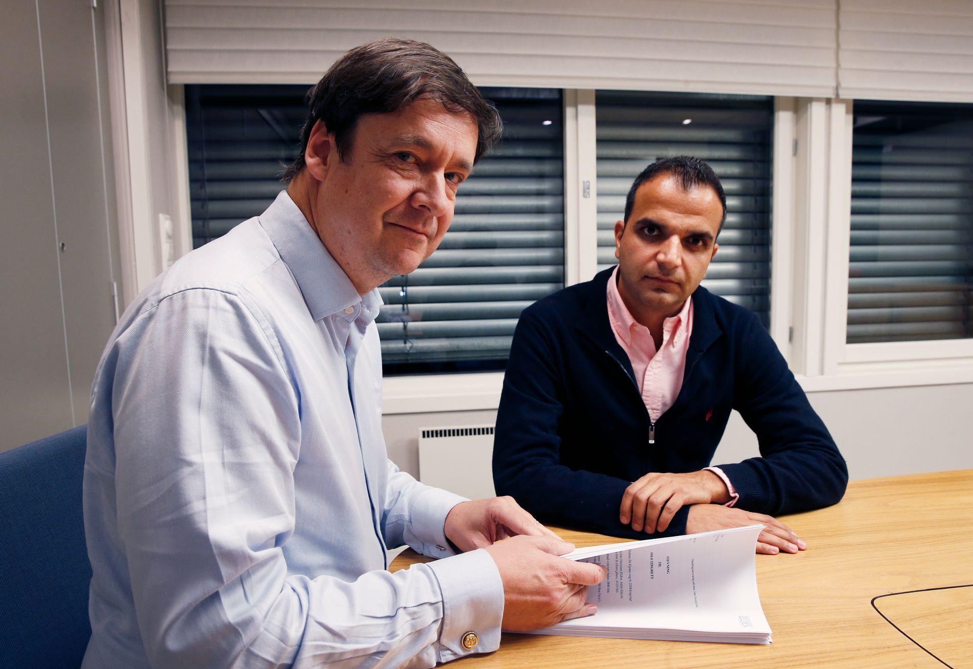 Svein-Erik Edvartsen (høyre) og hans advokat John Christian Elden (venstre), her fra en VG-sak i november 2017.