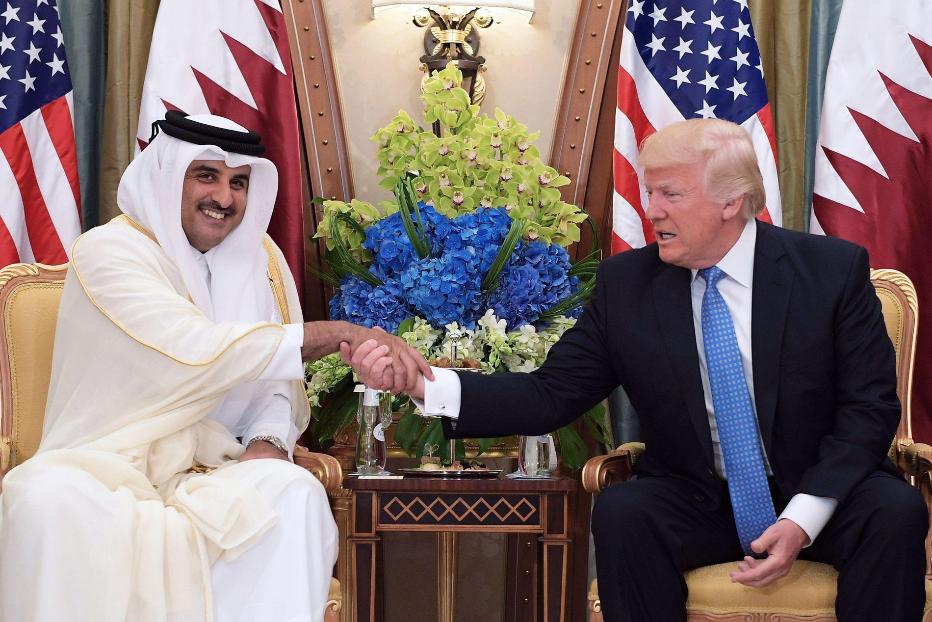 MØTTE TRUMP: Qatars emir  Tamim bin Hamad Al Thani møtte USAs president Donald Trump i Saudi Arabia i slutten av mai.