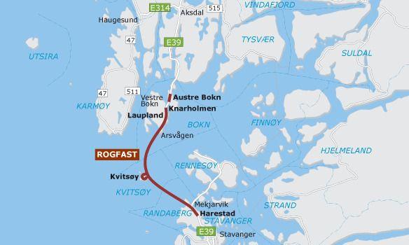 VERDENS LENGSTE: Tunnelen vil gå fra Randaberg over til Kvitsøy og videre til Bokn. Den vil ha en lengde på 27.3 kilometer og med det bli verdens lengste undersjøiske tunnel.
