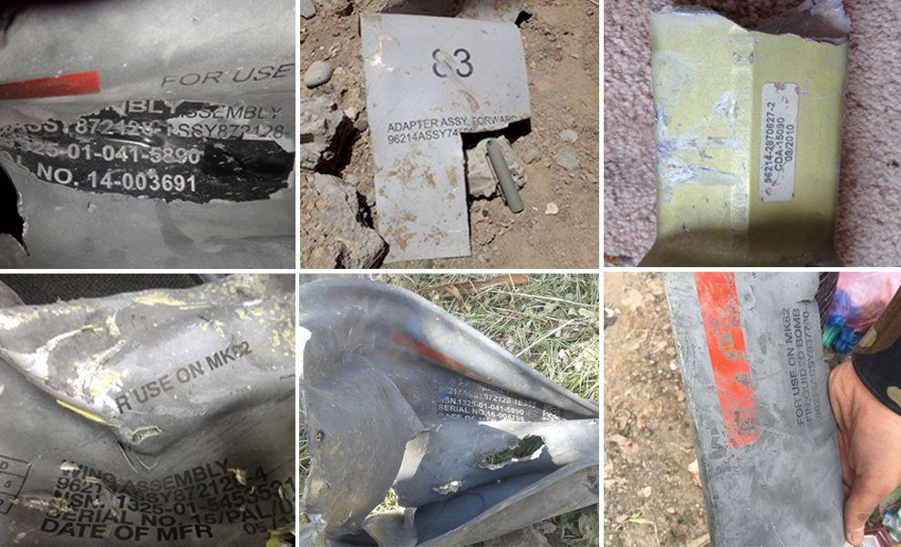 DOKUMENTERER: En samling av bilder som viser rester av Raytheon-bomber brukt mot sivile mål i Jemen.