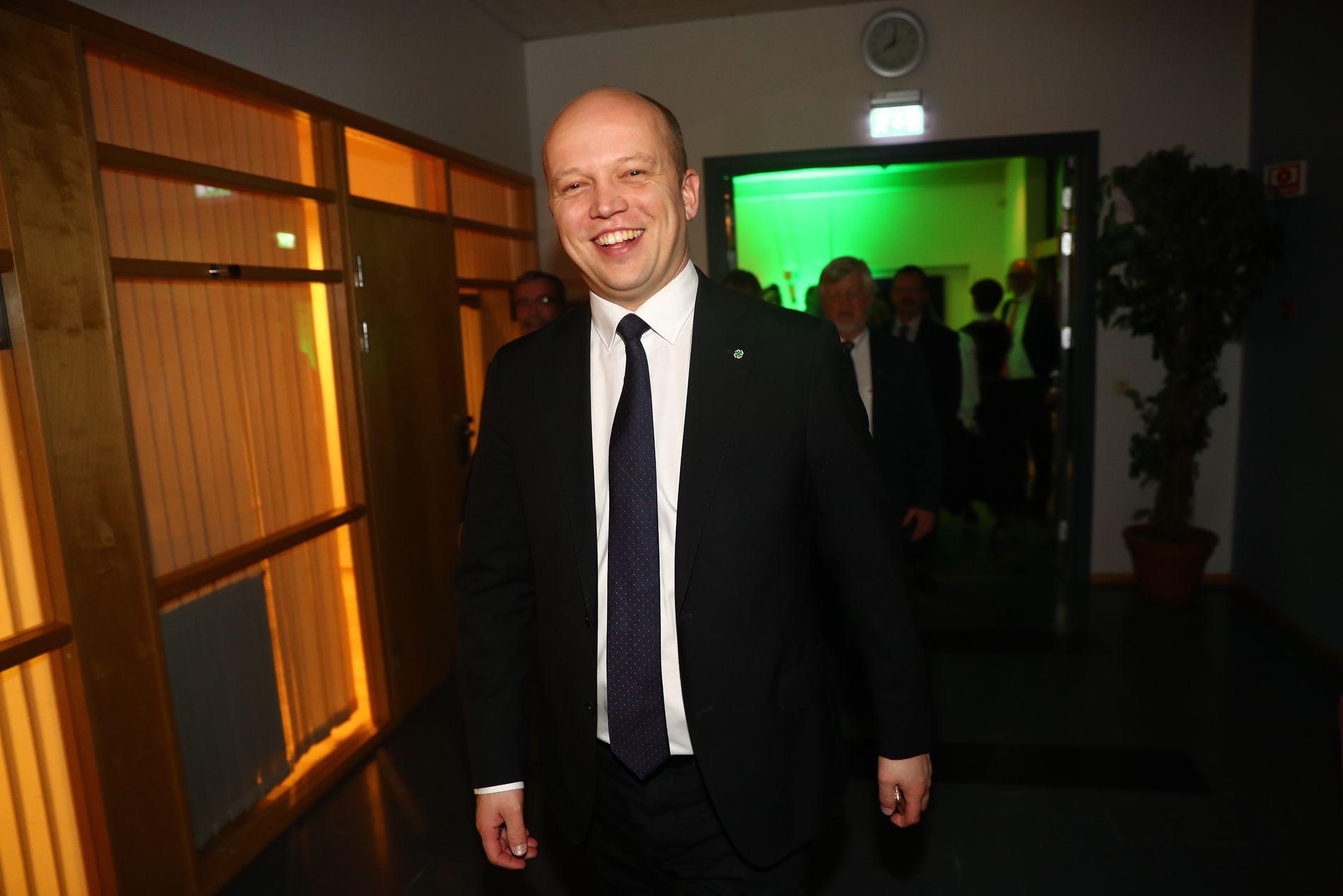 ET MANDAT: Senterparti-leder Trygve Slagsvold Vedum er fornøyd med resultatet i Oslo, nå som Senterpartiet ligger an til å få et mandat i Oslos bystyre. Bildet er fra Senterpartiet sitt landsmøte i mars 2019.