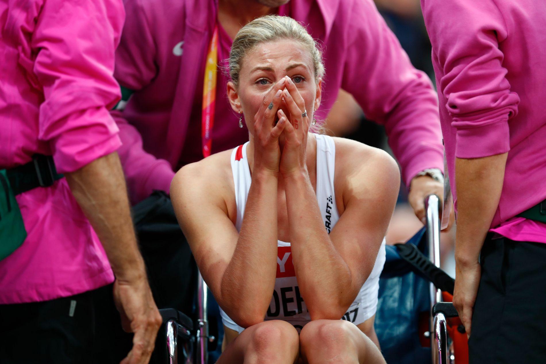 I RULLESTOL: Isabelle Pedersen røyk ut av 100 meter hekk semifinalen i VM.
