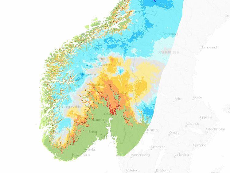 VINTEREN 1989: Her er snødekket 26. januar 1989 – og dette er den eneste vinteren som ligner – av alle vintrene etter 1958. Og selv her er det mer snødekke, både på indre Østlandet og rundt Trondheim.
