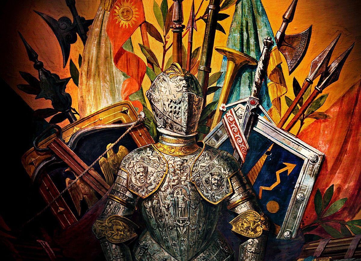 MIDDELALDERSK: – Frimurernes symbolverden består av en rekke effekter fra middelalderen, skriver kronikkforfatteren. På bildet fra Frimurerlosjen i Oslo ser du blant annet rustning, spyd og faner.