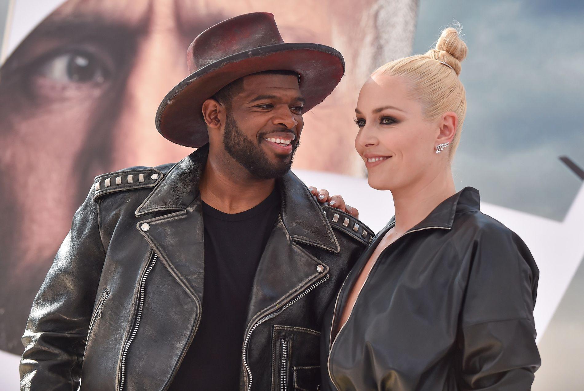 LYKKELIGE: Vintersport-paret P.K. Subban og Lindsey Vonn har tatt forholdet til neste steg. Her under en filmpremiere i juli.