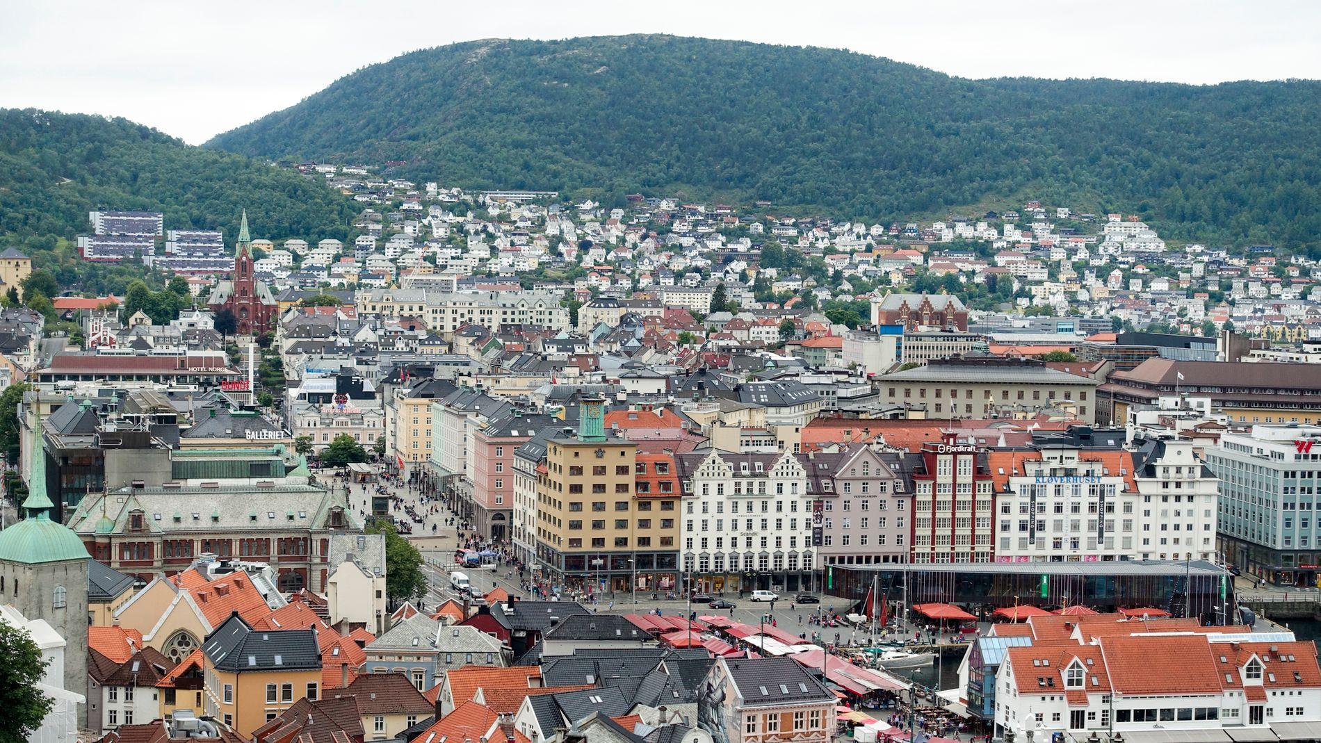 GIKK MOTSTRØMS: Ikke alle steder av landet bidro til den sterke prisveksten på landsbasis i august. I Bergen sank de gjennomsnittlige salgsprisene med 0,2 prosent.