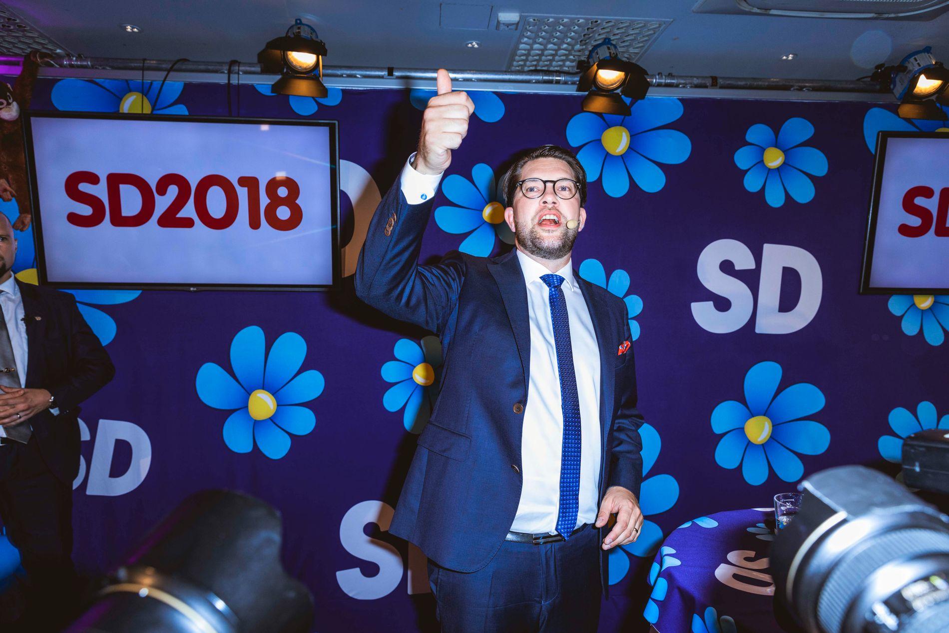 HOVMOD FOR FALL: SD-leder Jimmie Åkesson blir møtt med kritikk fra egne rekker etter det svenske valget.