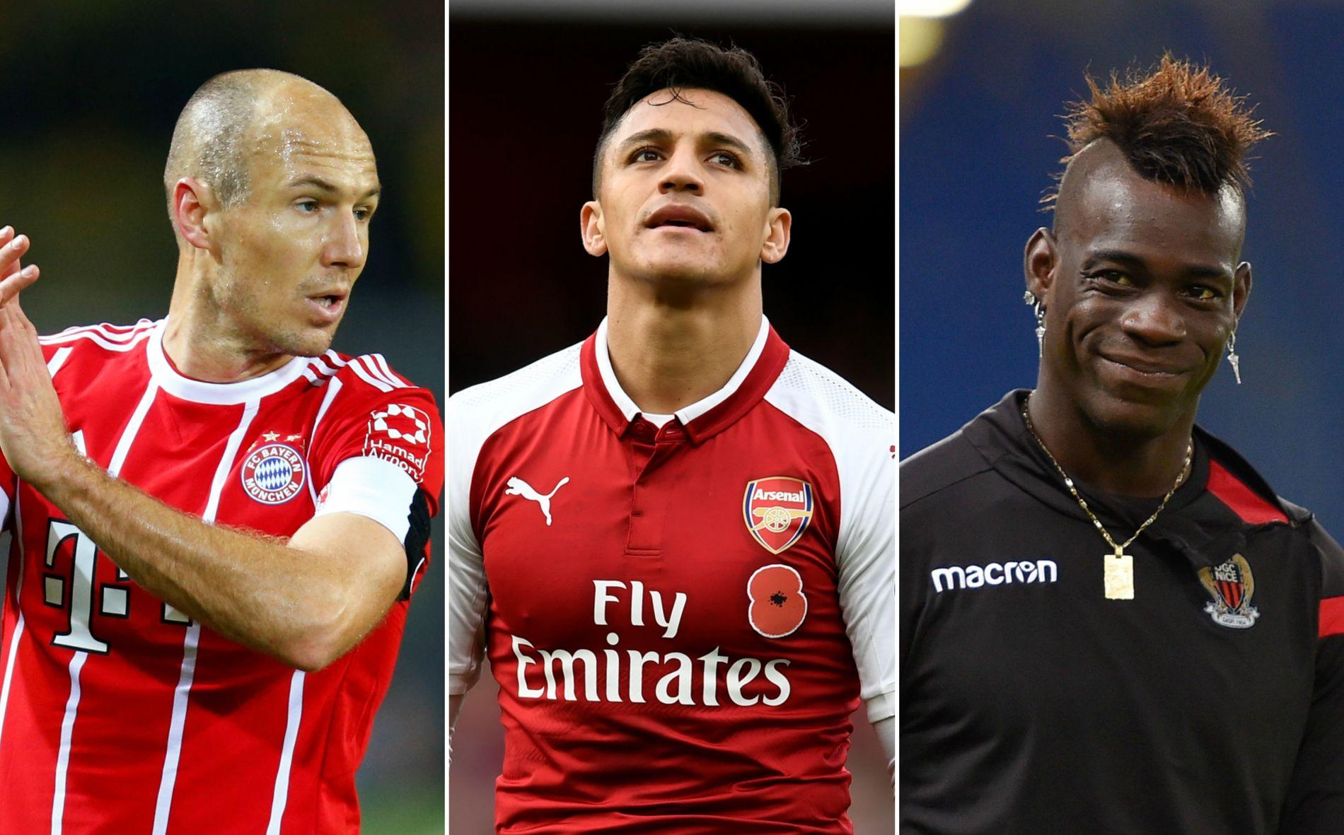 USIKKER FREMTID: Arjen Robben (Bayern München, f.v.), Alexis Sánchez (Arsenal) og Mario Balotelli (Nice) er blant spillerne med kontrakt som utløper til sommeren.
