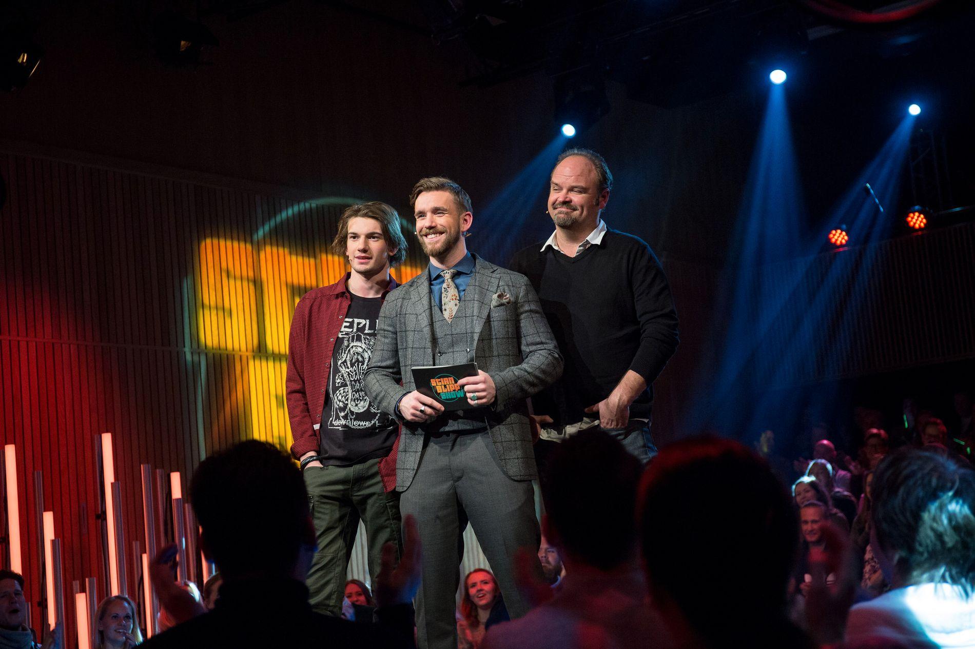 TALKSHOWDEBUT: Thomas Hayes, Stian Blipp og Atle Antonsen (fra venstre) i første episode av «Stian Blipp Show». FOTO : Eivind Senneset / TV2