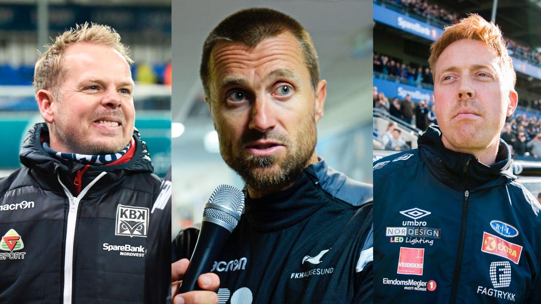 DE NOMINERTE: KBKs Christians Michelsen, Haugesunds Eirik Horneland og Ranheims Svein Maalen er nominert til årets trener i Eliteserien 2018.