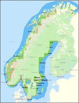 GOD DEKNING: Foruten Norge, dekker sjøkartet på Gule Sider også Sverige. De mørkeblå feltene dekkes. Foto: Jørn Finsrud/Båtliv