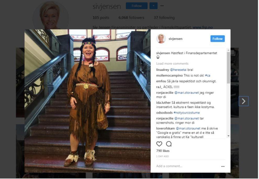 VAKTE OPPSIKT: Siv Jensen har fått kritikk for dette kostymet.