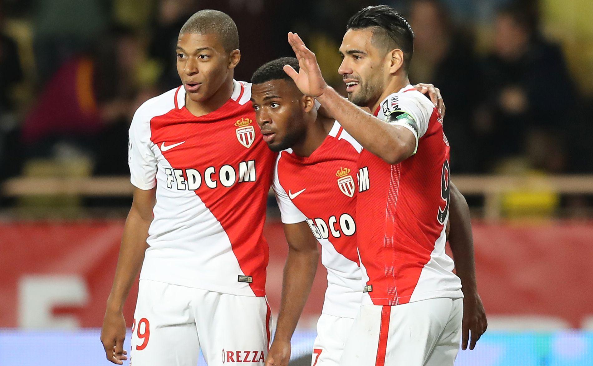 VERDIFULLE: Kylian Mbappé (f.v.), Thomas Lemar og Radamel Falcao har storspilt for Monaco denne sesongen. Neste sesong kan alle være solgt.