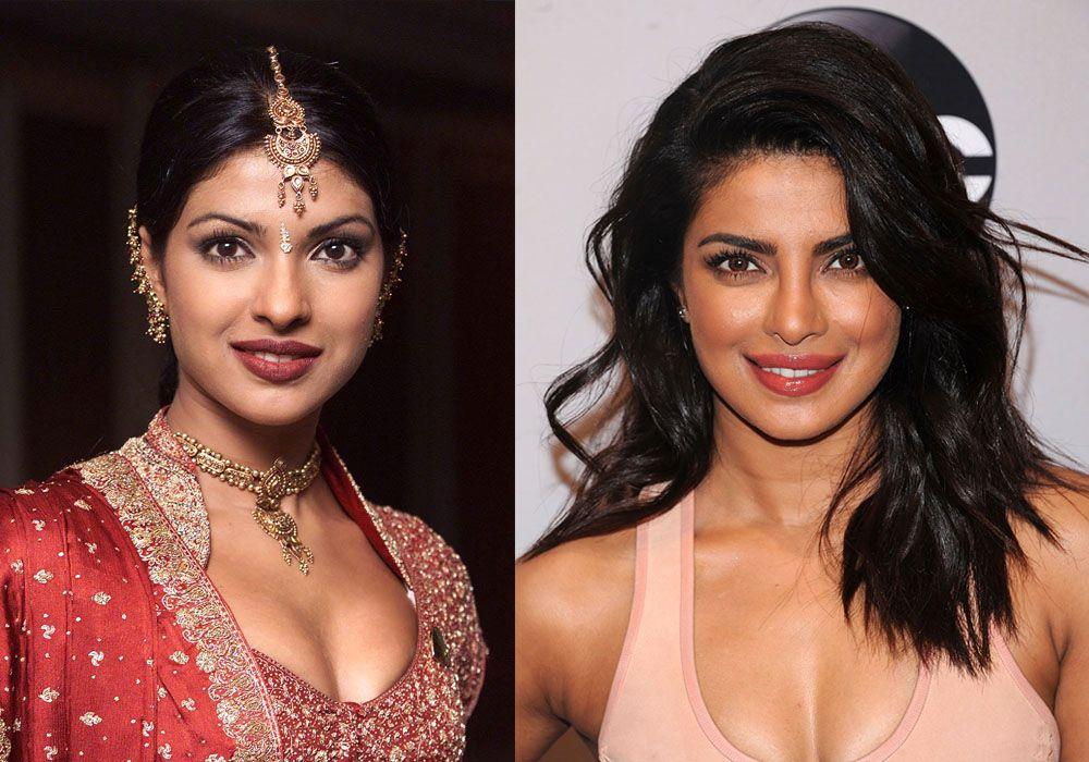 DA OG NÅ: Til venstre Priyanka Chopra som Indias Miss World-kandidat i 2000 og til høyre skuespilleren på rød løper i New York i mai 2016.