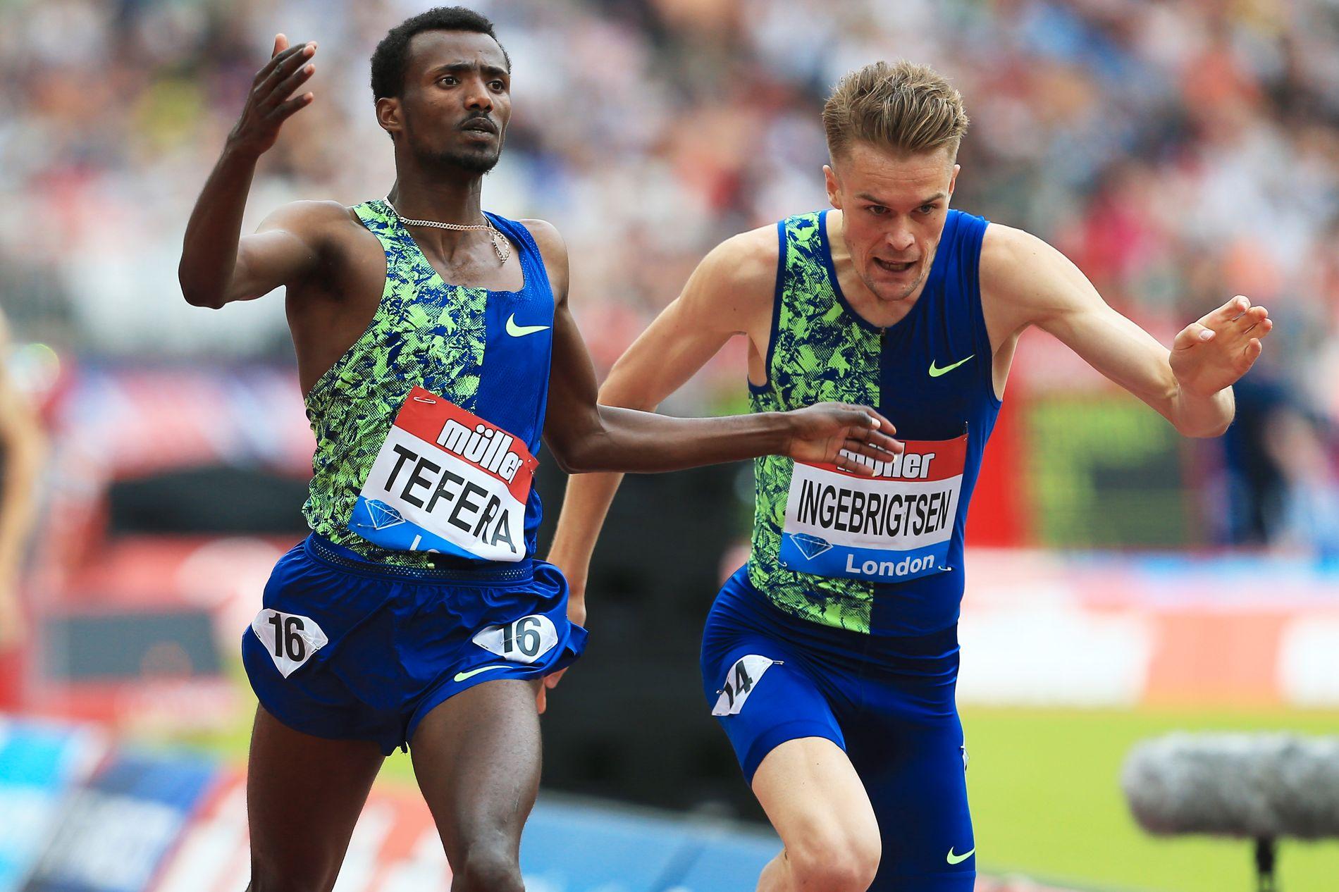 AMBISIØS: Samuel Tefera spurtslo Filip Ingebrigtsen i London. Men nå ser Team Ingebrigtsen fremover. Jakob og Filip Ingebrigtsen har en drøm om å kjempe om medaljer på to øvelser i VM.