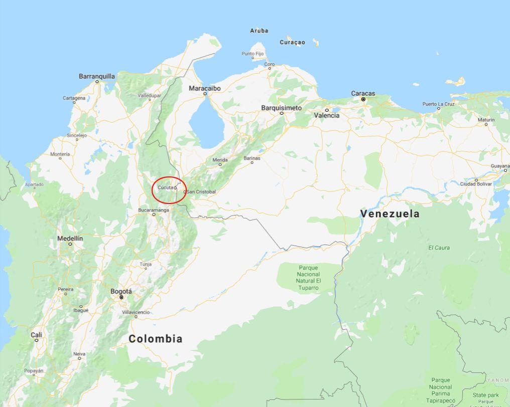 GRENSEOVERGANG: Opposisjonsleder Juan Guaidó befinner seg i den colombianske byen Cucuta (rød ring) ved den venezuelanske grensen.