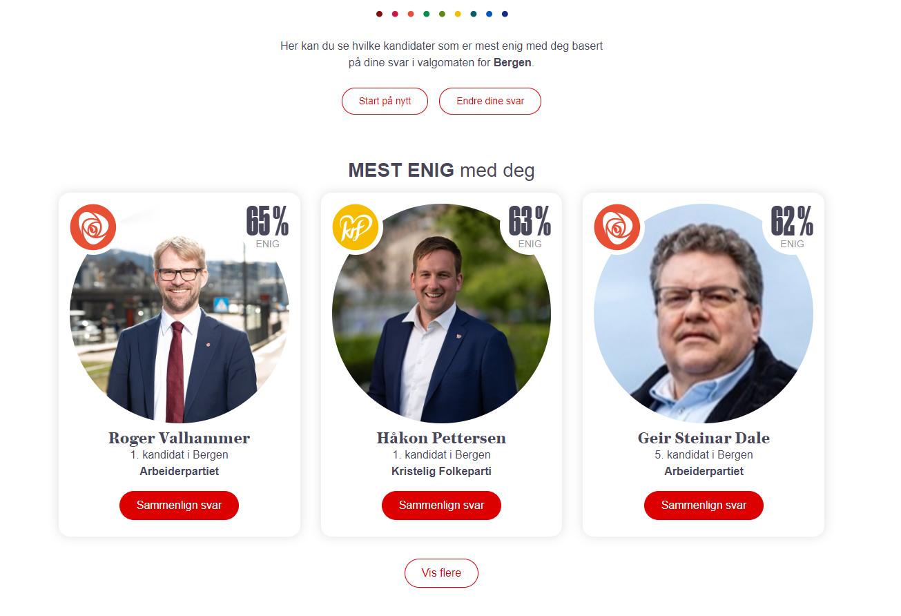 KANDIDATMATCH: I denne tilfeldig utfylte valgomaten for Bergen fikk vi match med Aps førstekandidat i Bergen, Roger Valhammer.