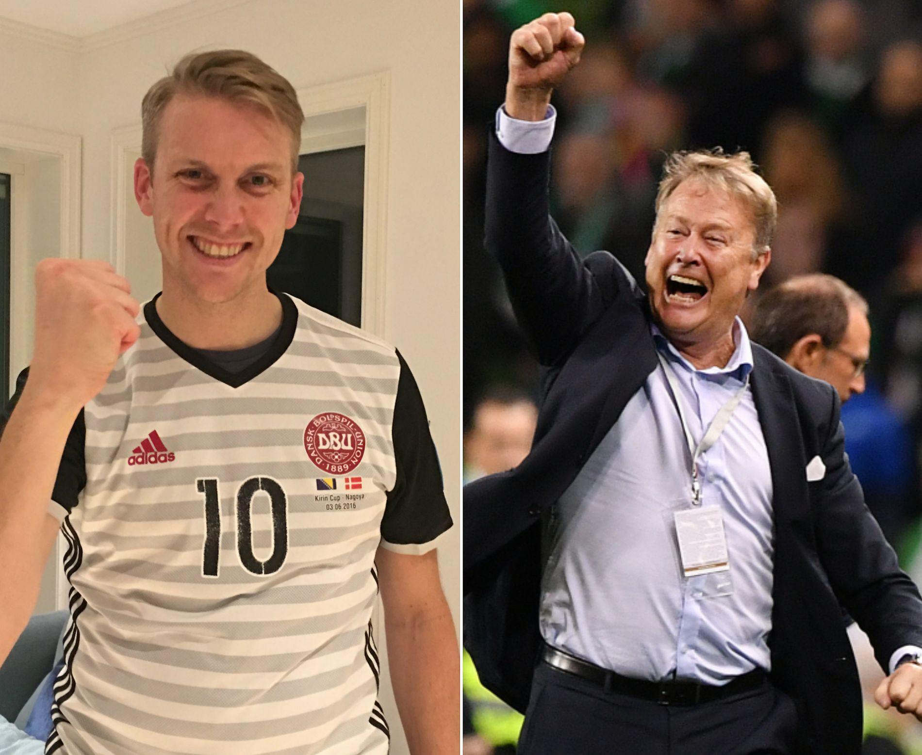 SOM FAR, SOM SØNN: Bendik Hareide jubler tirsdag kveld i Christian Eriksen-drakt etter at faren Åge Hareide tok Danmark til fotball-VM.