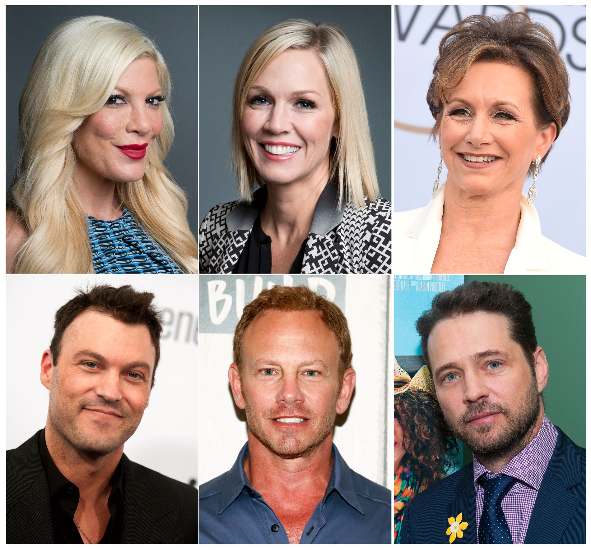 90-TALLSSTJERNER:F.v. øverst: Tori Spelling, Jennie Garth, Gabrielle Carteris Brian Austin Green, Ian Ziering og Jason Priestley.