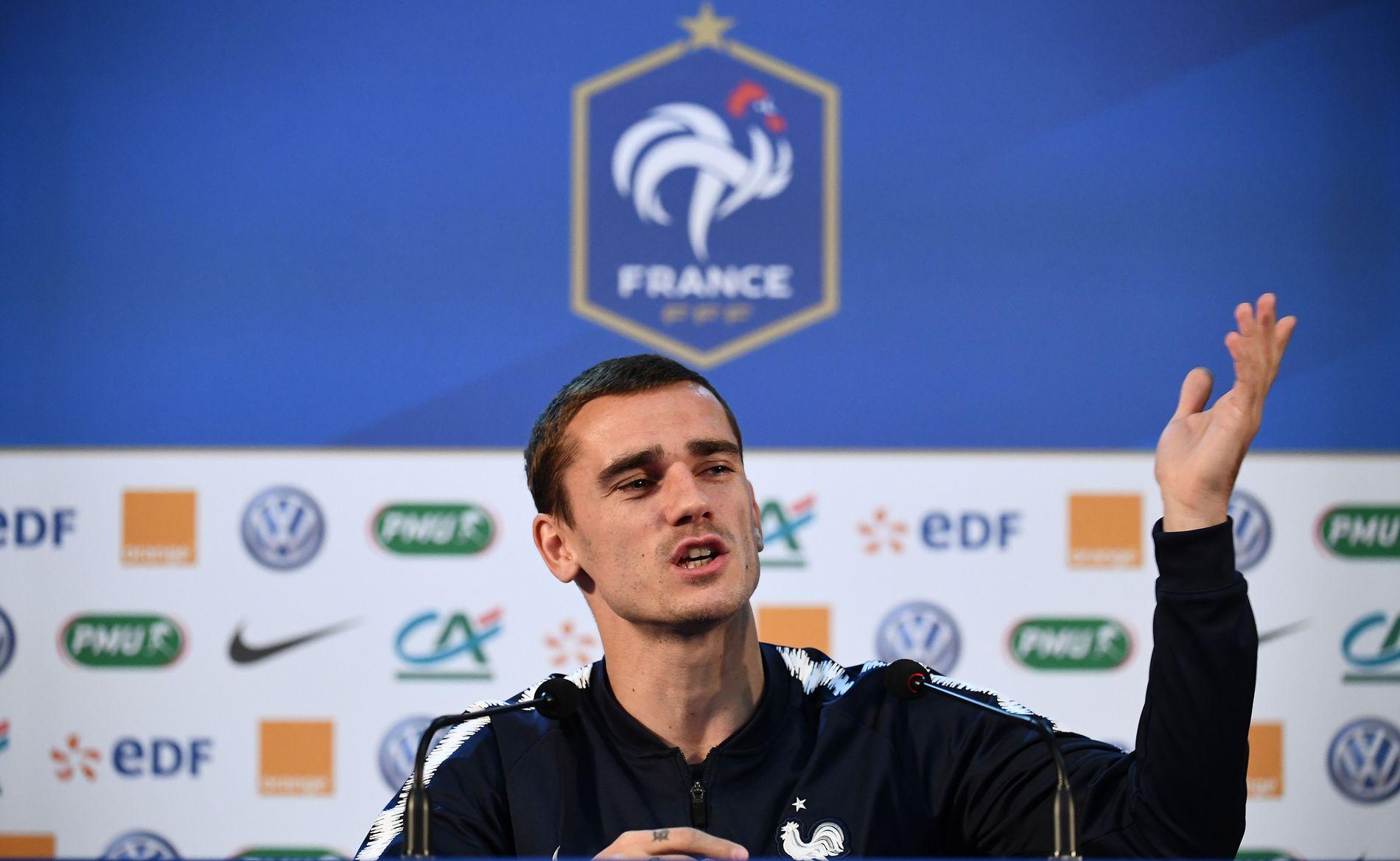 Frankrike-spiss Antoine Griezmann – her fra en pressekonferanse i Russland i juli.