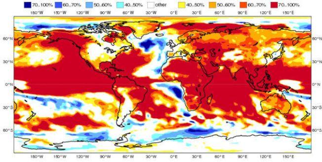 BLODRØD SOMMER: Sommeren 2015 ser dramatisk varm ut – nesten over hele verden. Vest-Europa ser imidlertid ut til å få en normal sommer, og Norge litt varmere sommer enn normalt. Ill: ECMWF