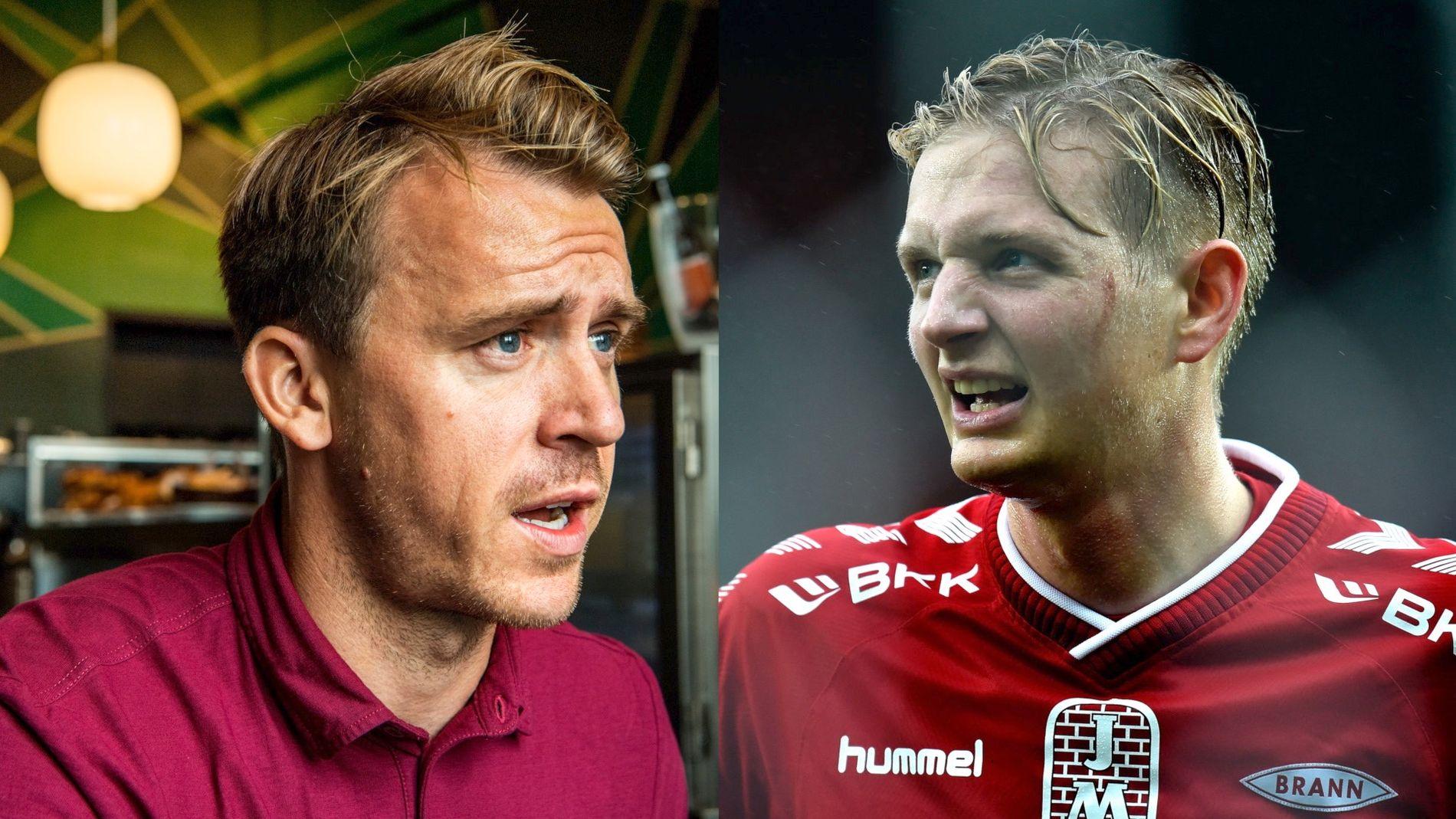 Begge de tidligere Brann-spillerne jobber nå som fotballeksperter. Carl-Erik Torp til venstre og Erik Huseklepp til høyre.