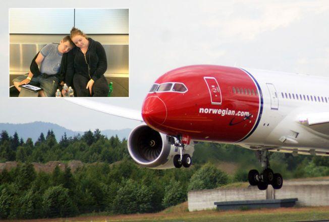 SLITNE: Norske Sandra (17) og Adrian (12) har ventet i over 27 timer på å komme seg fra Los Angeles til London med et Dreamliner-fly fra Norwegian. Flyet er nå ytterligere forsinket. Foto: Privat / Jan Ovind / VG