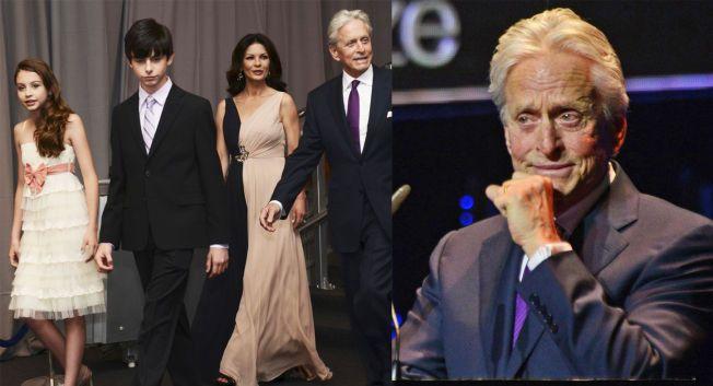 STERKT GREPET: Michael Douglas klarte ikke å holde tårene tilbake da han inntok podiet. I takketalen nevnte han spesielt kona Catherine Zeta-Jones og barna Dylan og Carys.