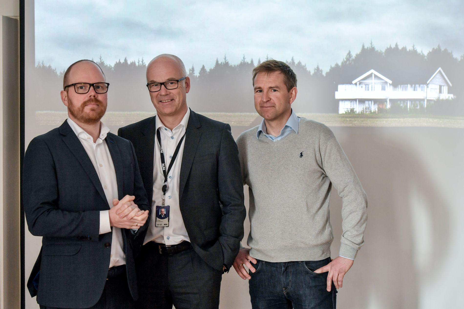 SAMARBEID: VG-sjef Gard Steiro (fra venstre), NRK-sjef Thor Gjermund Eriksen og VGs krimekspert Øystein Milli.