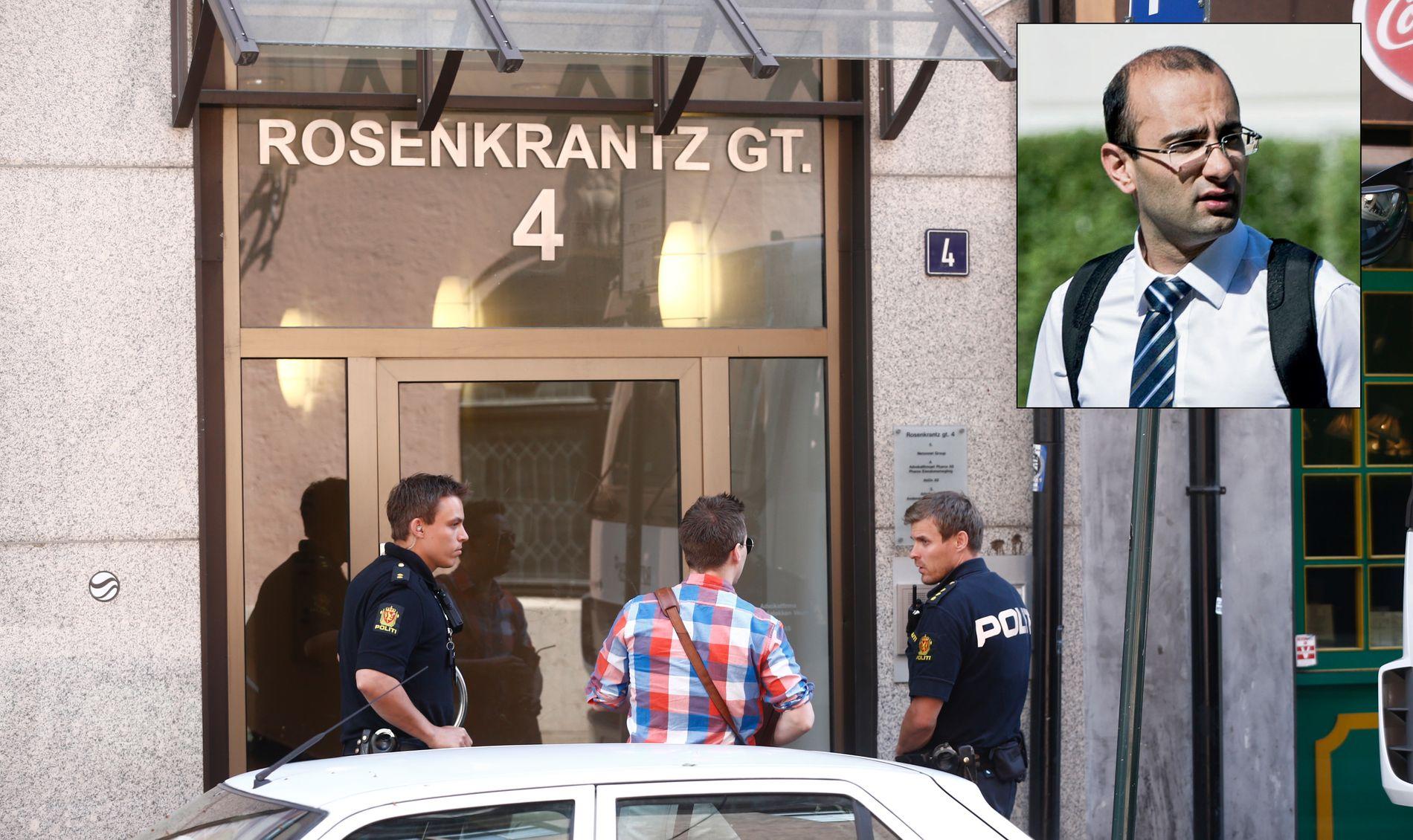 RANSAKET ADVOKATKONTOR: I midten av juni aksjonerte politiet mot Advokatfirmaet Pharos, som Amir Mirmotahari var eier, styreleder og daglig leder av.