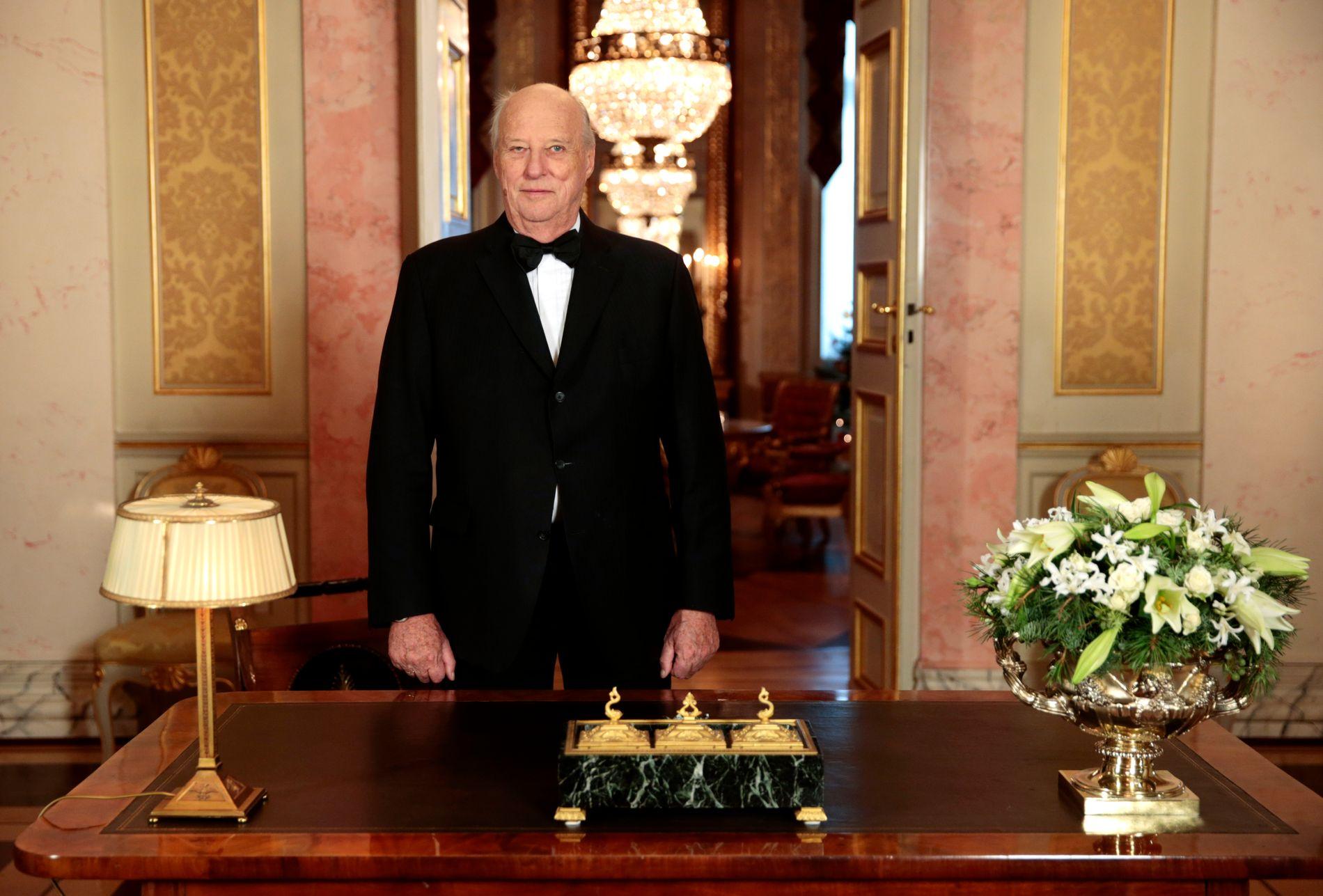 NYTTÅRSTALE: Kong Harald talte tradisjonen tro på årets siste dag.