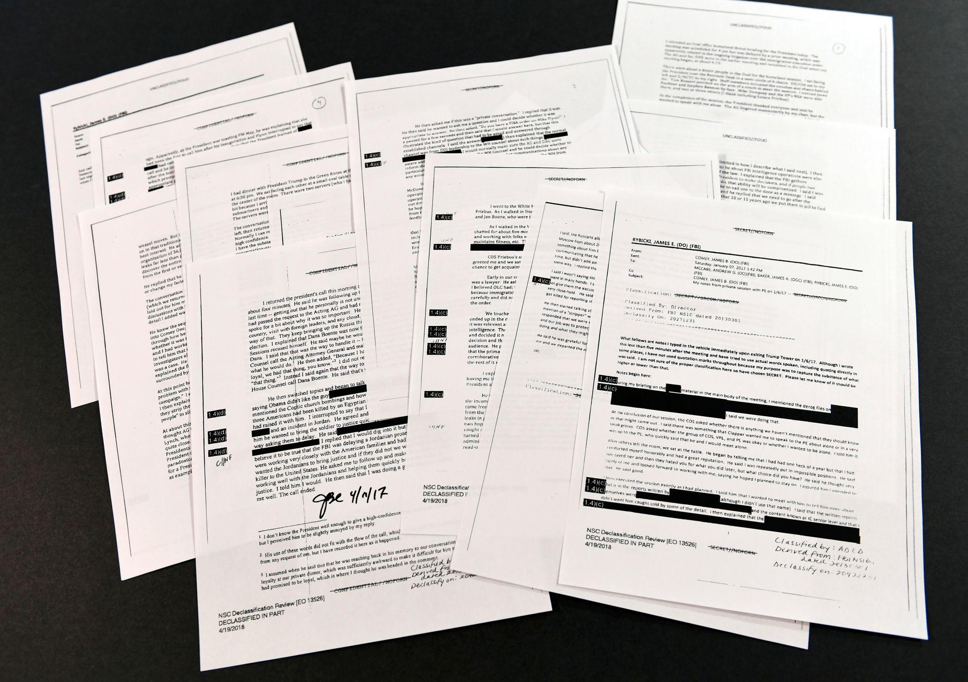 FBI-DIREKTØRENS NOTATER: Notatene fra samtalene med president Donald Trump er nå offentliggjort, og viser stor fortrolighet – før Comey ble sparket.