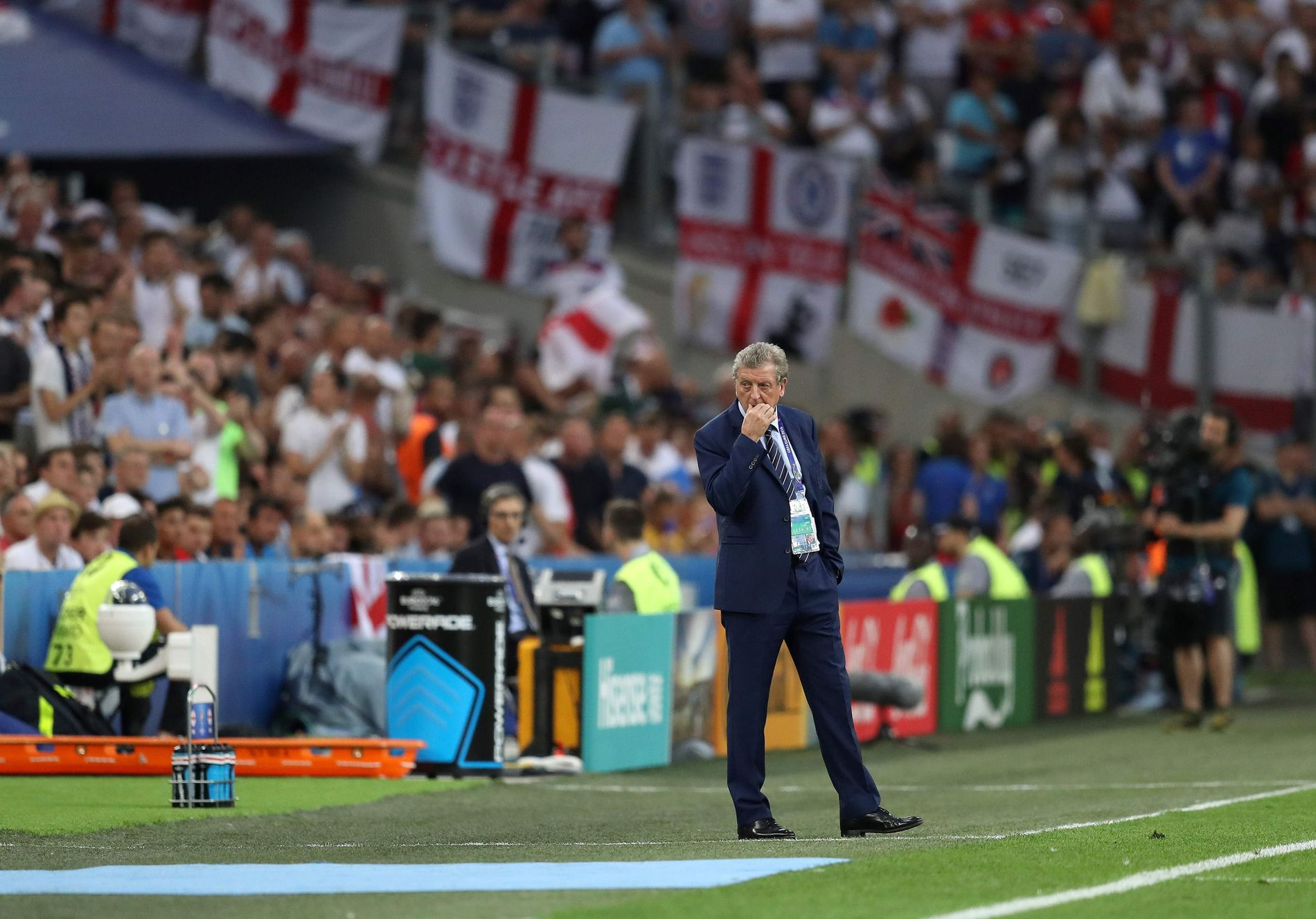 SKUFFET MANN: England-sjef Roy Hodgson under oppgjøret mot Russland lørdag.