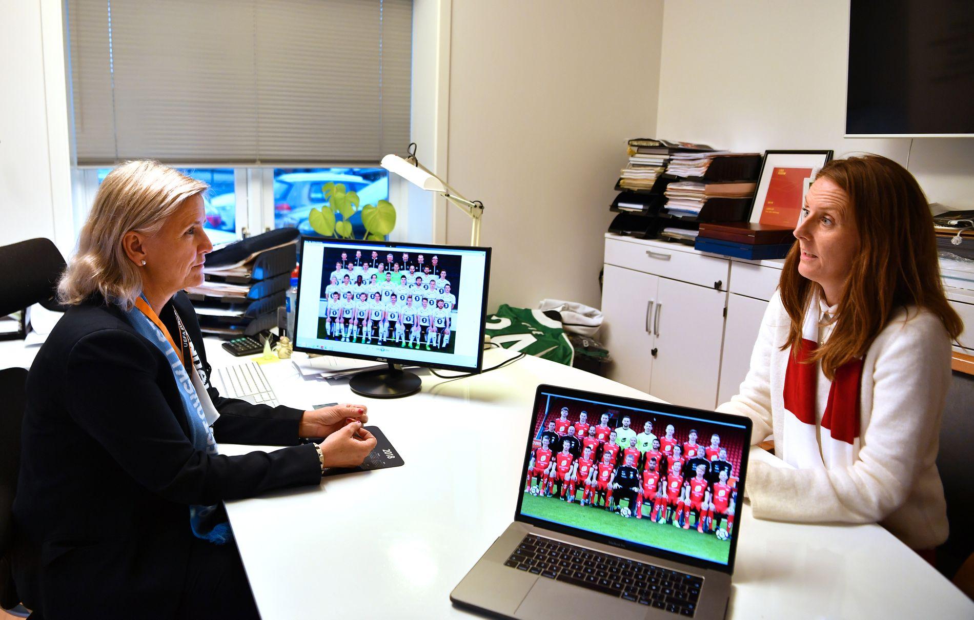 HERRELAG: Tove Dyrhaug Moe og Vibeke Johannessen er daglig ledere i RBK og Brann. De vil foreløpig nøye seg med å ha herrelag i klubbene sine.