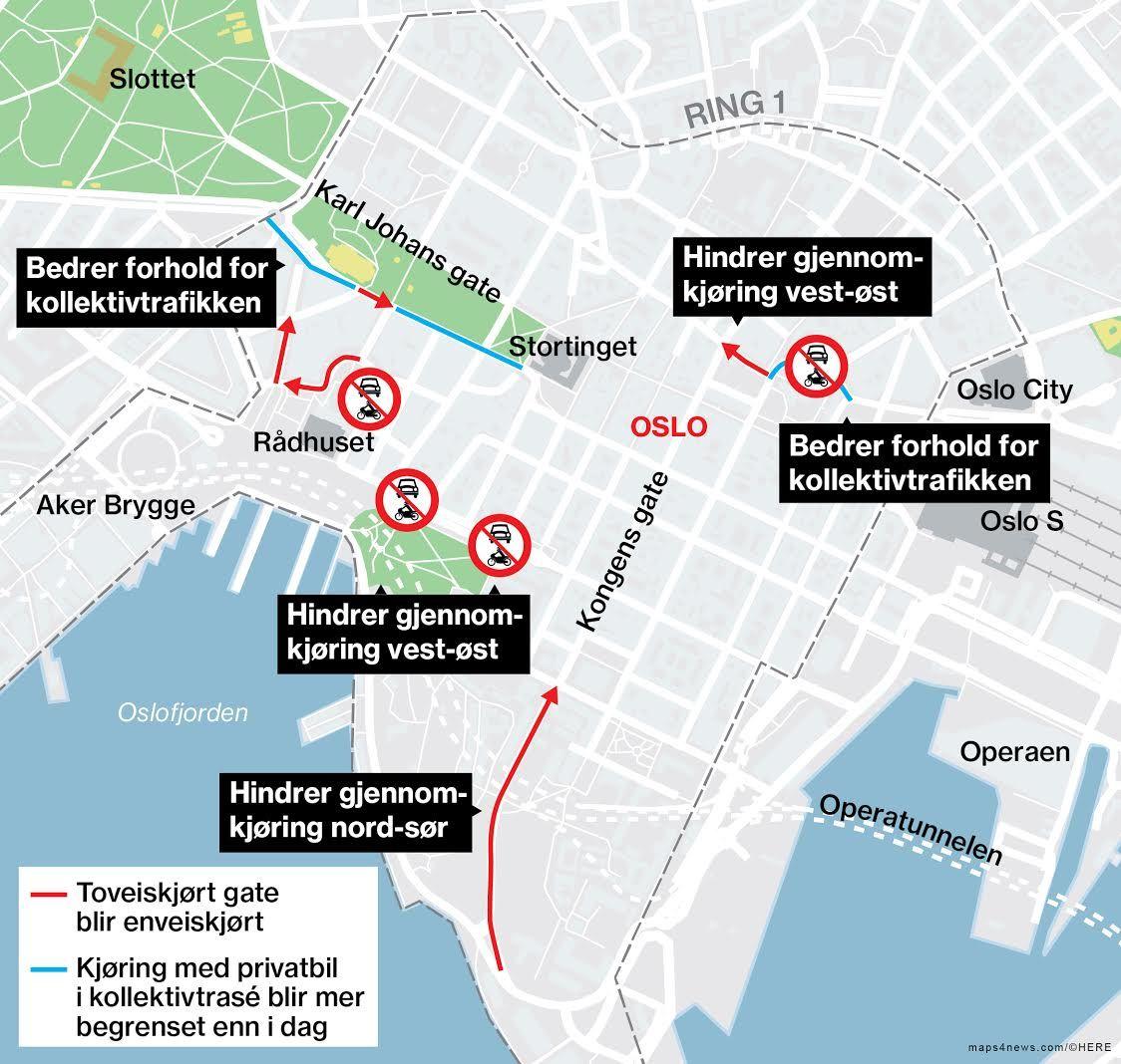 FREMTIDEN: Slik ligger kjøremønsteret an til å bli innenfor Ring 1 hvis byrådet i Oslo får det som det vil.