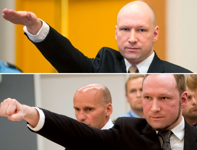 NAZIHILSEN: Hilsenen terrordømte Anders Behring Breivik viste tirsdag var ikke den samme som han utførte en rekke ganger under 22. juli-saken for fire år siden, men en ny armbevegelse, som til forveksling ligner på nazihilsenen som ble brukt av Hitler og hans tilhengere.