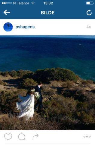 BRUDEPARET: Det romantiske bilde Pål Sverre Hagen la ut etter at han giftet seg med sin Evelyn på Point Dume nord for Malibu i California i januar. – Et spesielt sted for oss, skrev Hagen da.