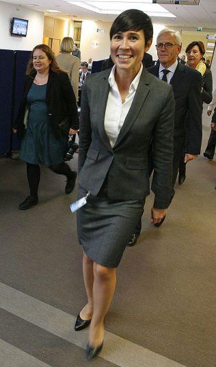 NULLTOLERANSE: Forsvarsminister Ine Eriksen Søreide har nulltoleranse for seksuell trakassering i Forsvaret. Her er hun  på NATOs forsvarsministermøte på NATO-hovedkvarteret i Brussel.
