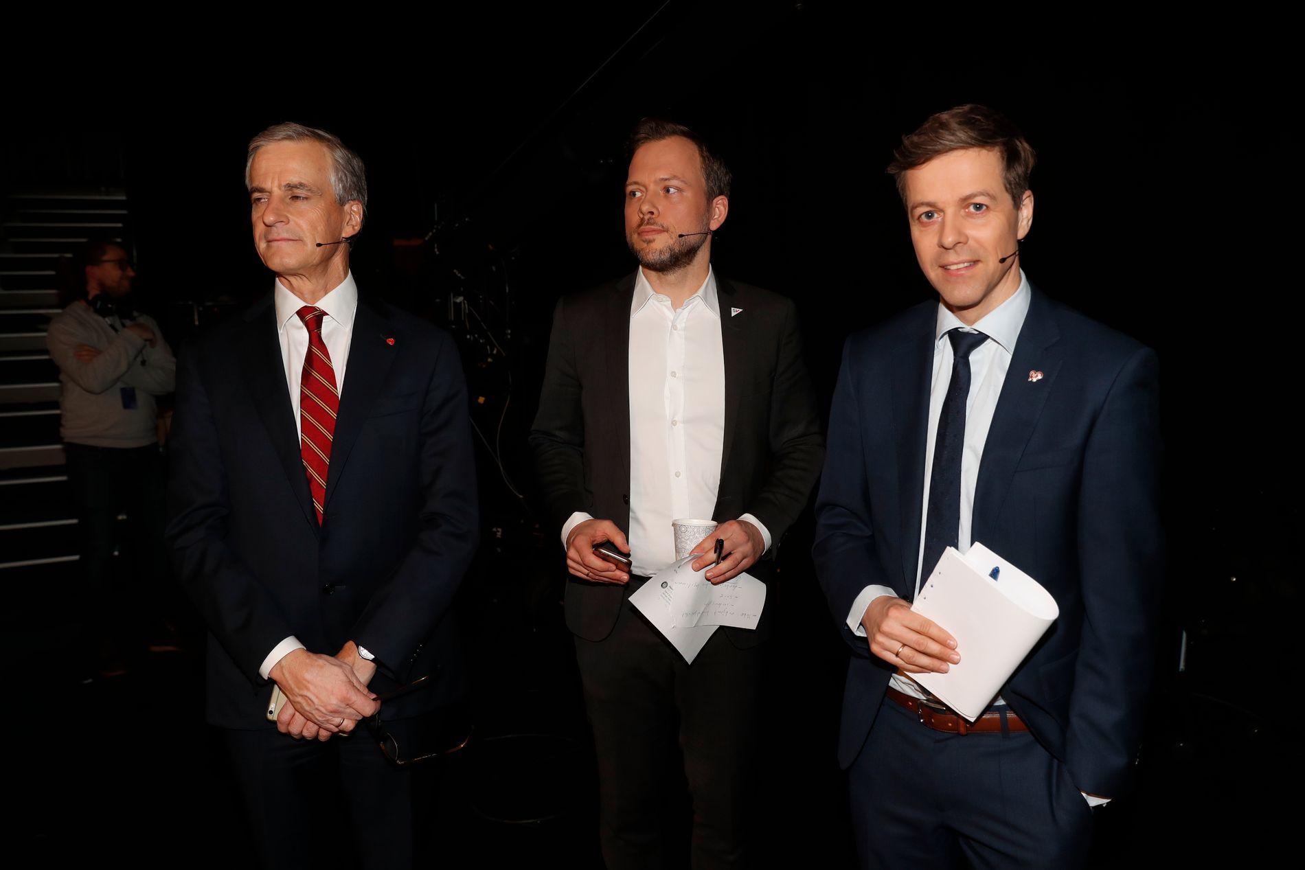 BLITT GODT KJENT: Ap-leder Jonas Gahr Støre, SV-leder Audun Lysbakken og KrF-leder Knut Arild Hareide. Her fotografert sammen i forbindelse med en debatt i NRK i mars i år.