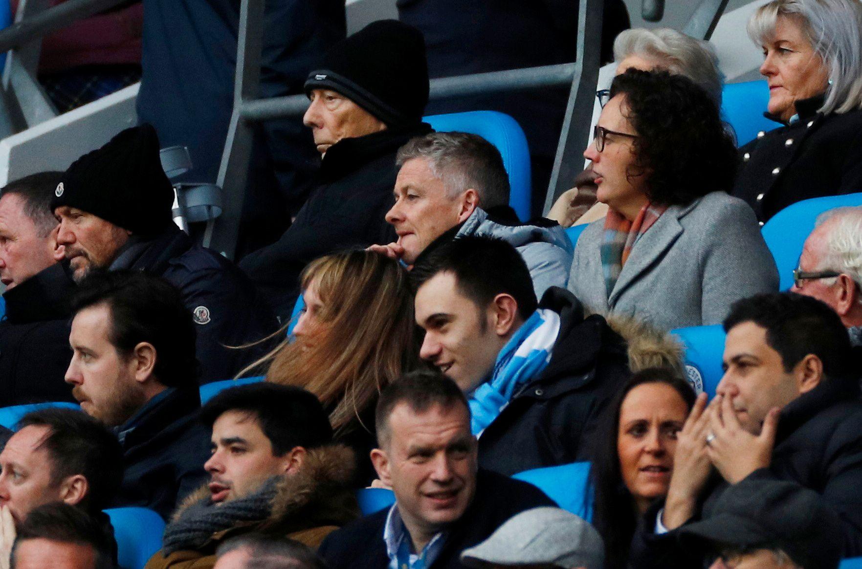 FALKEBLIKK: Ole Gunnar Solskjær fikk se sin neste motstander, Burnley, bli ydmyket 0–5 av Manchester City på Etihad Stadium lørdag.
