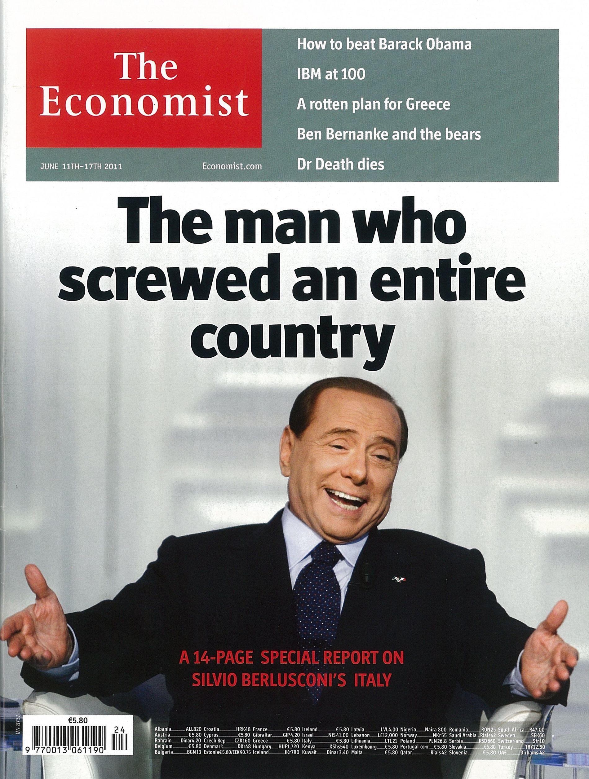 KLAR TALE: Faksimile av det liberalistiske nyhetsmagasinet The Economist 11. juni 2011, et halvt år før Berlusconi ble tvunget til å gå av.