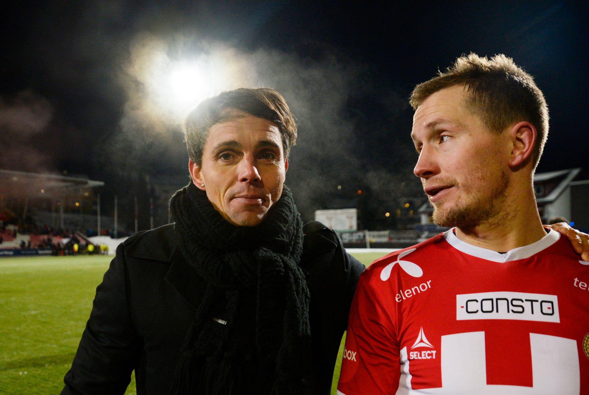 RØDE TALL: Tromsø har økonomiske problemer og må selge spillere. Her representert ved trener Simo Valakari og veteran Morten Gamst Pedersen, som ble solgt fra TIL til Blackburn for 31 millioner i 2004.
