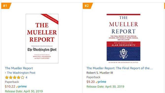 Disse to versjonene av Mueller-rapporten er de mest solgte hos Amazon lørdag formiddag.