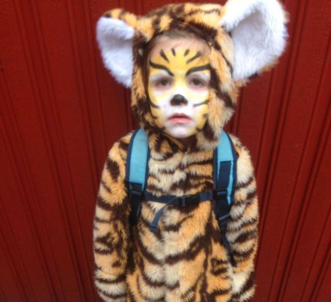 GLEDER SEG: Tidemann (4) skal enten være tiger eller zombie på Halloween på lørdag.