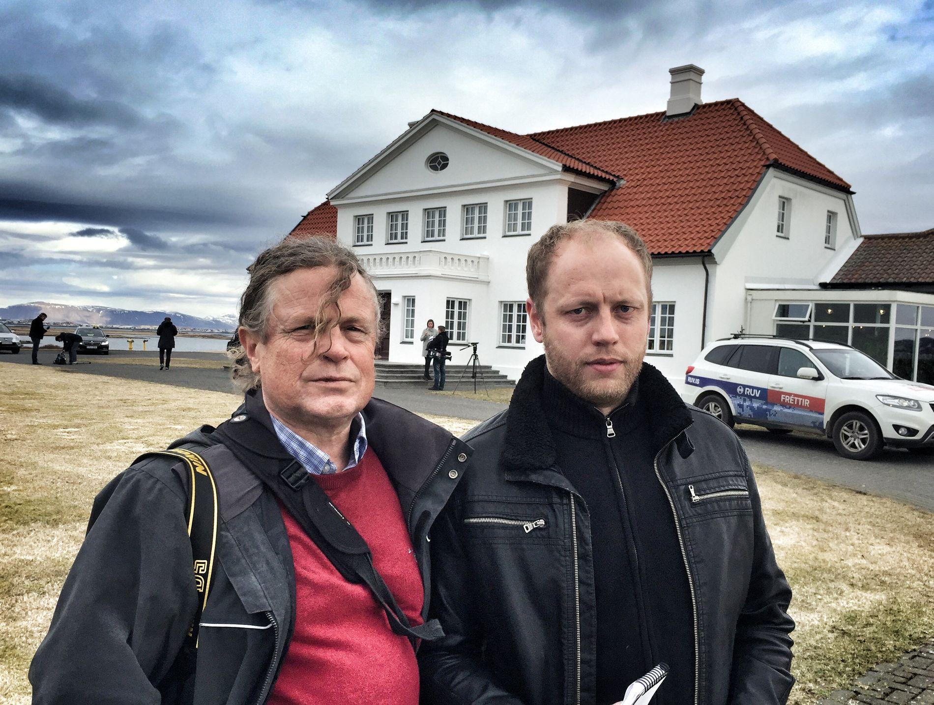 PÅ ISLAND: F.v. Helge Mikalsen og Jostein Matre.