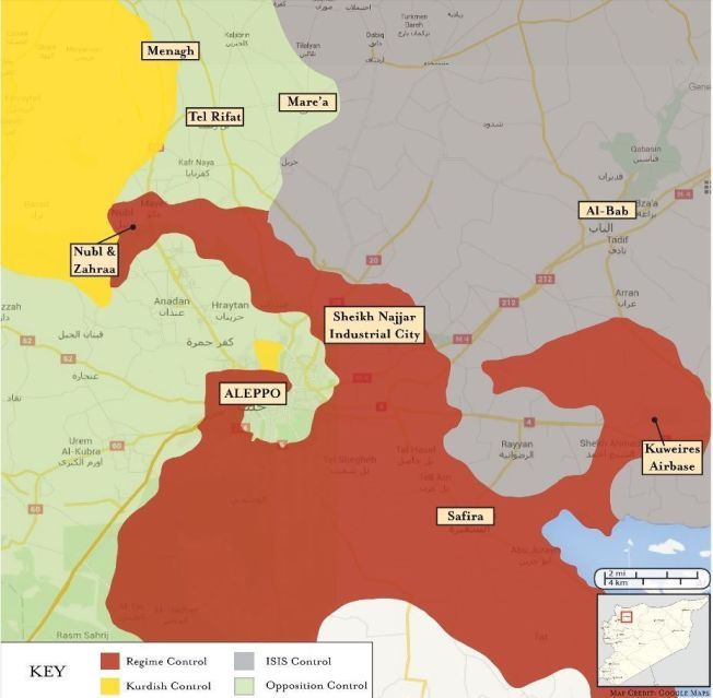 SNART OMRINGET: Det røde feltet viser hvor regjeringstyrkene står rundt Aleppo sentrum i nordlige Syria. Det grønne feltet er opprørsgrupper som kjemper mot regimet. Det grå er IS-territorier og det gule kontrolleres av den kurdiske militsen YPG.