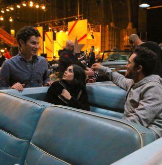 FØR PREMIEREN: Skuespillerne Thomas Kail,  Vanessa Hudgens og Carlos PenaVega.