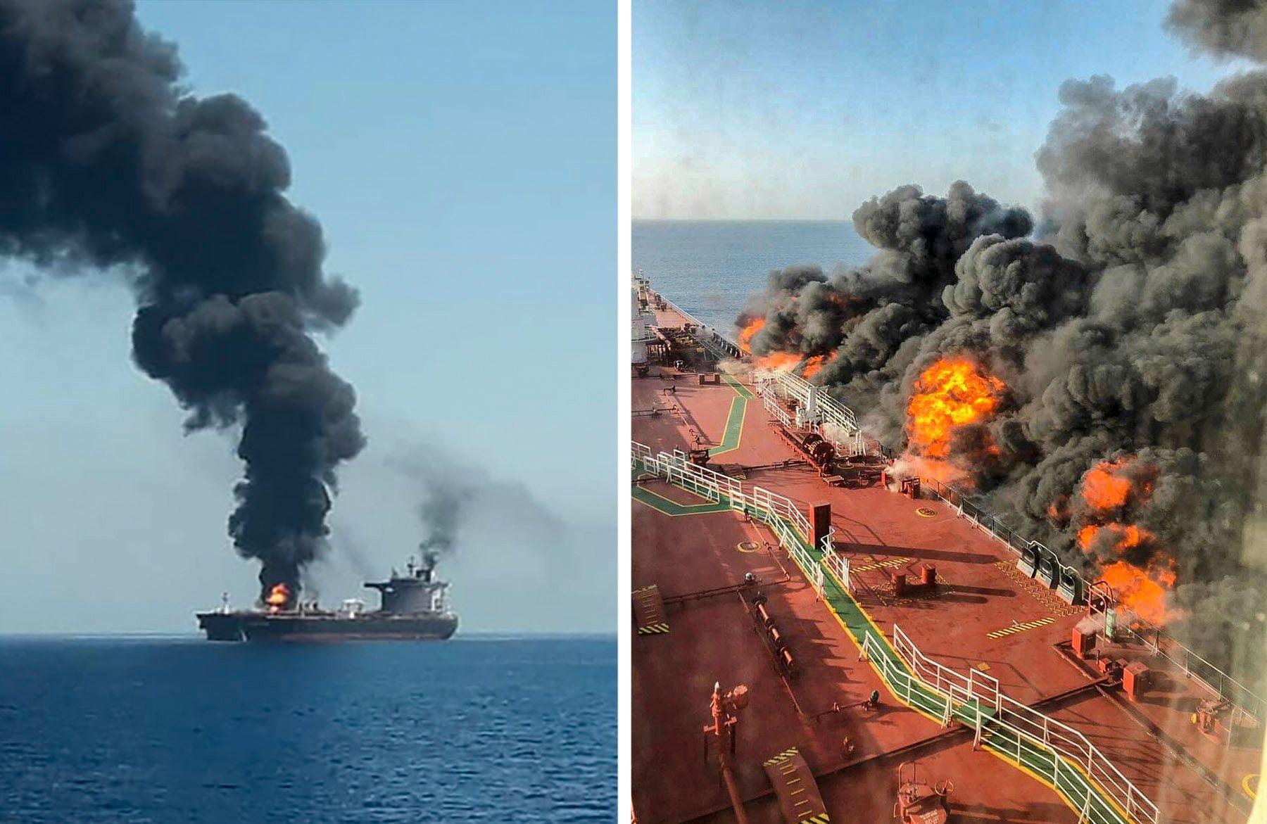 ANGREPET: Etter en eksplosjon brøt det ut brann om bord på tankskipet Front Altair i Omanbukta. Skipsfører på Front Altair sendte angivelig en dramatisk nødmelding.