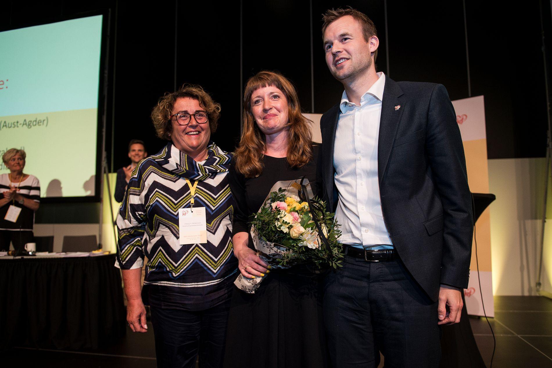 NY LEDELSE: Kristelig folkepartis nye ledertrio. Fra venstre: nestleder Olaug Bollestad, nestleder Ingelin Noresjø og partileder Kjell Ingolf Ropstad.